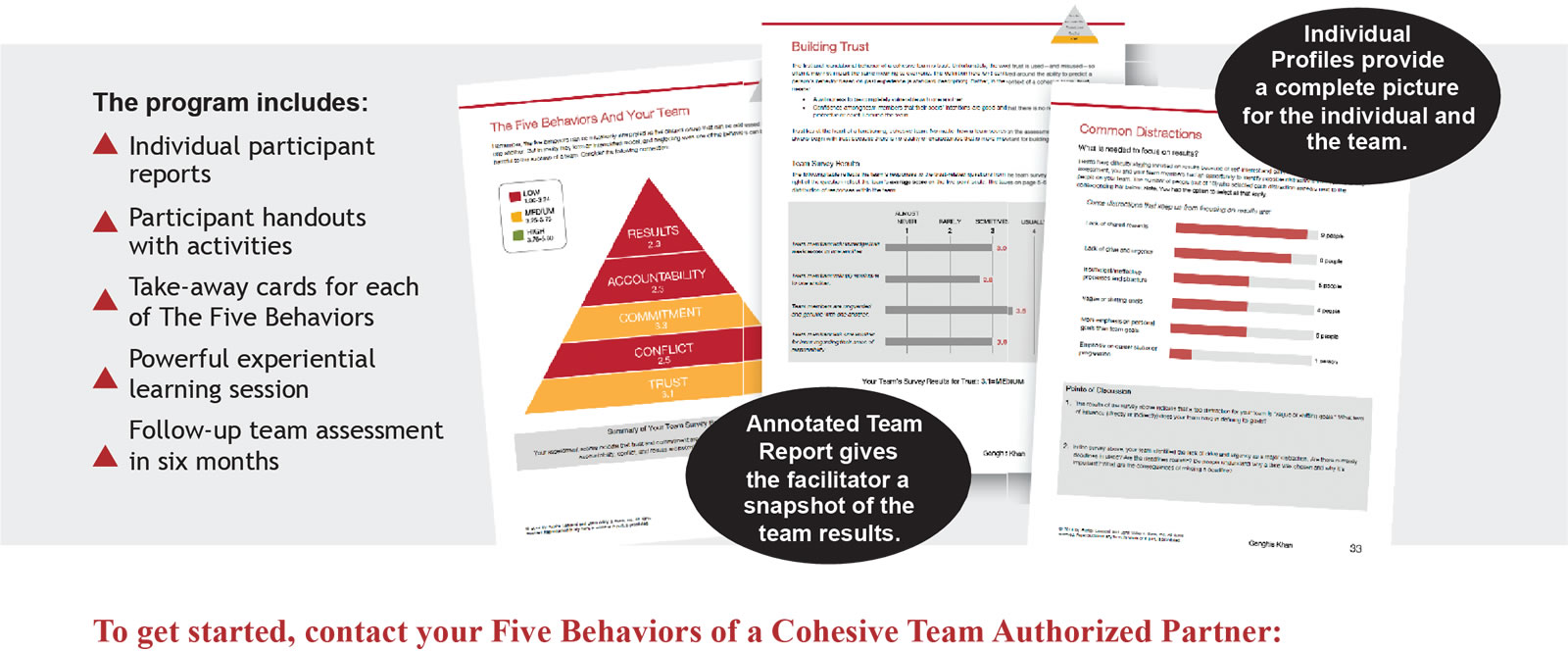 To get started, contact your Five Behaviours of a Cohesive Team Authorized Partner, The Delfi Group